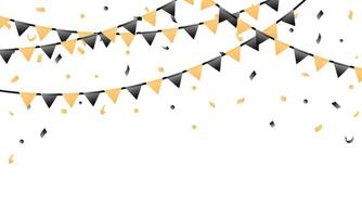 Confetti and pennant flag celebration background vector