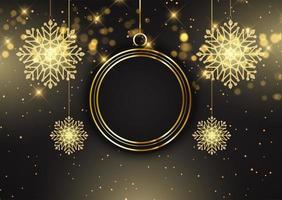 Elegant Christmas background with hanging bauble and snowflakes