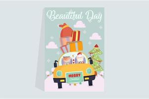 Santa Claus with Snowman and Deer Poster