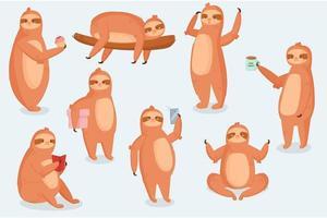 perezoso, animal, carácter, diferente, poses