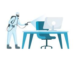 Man with protective suit spraying office desk vector design
