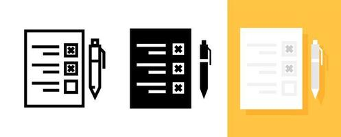 Flat Icon of Survey Document or Checklist with Pen Symbol, Vector and Illustration.