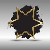 Gold star background with grunge brush strokes vector