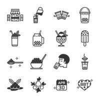 conjunto de iconos de línea de té de burbujas vector