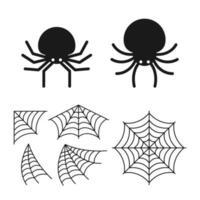 colección de ilustración de araña y tela de araña vector