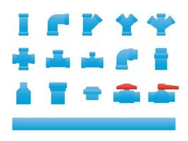 Set of PVC pipe flat design icons vector