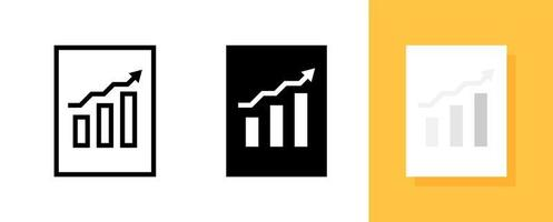 Business Information or Data with Graph Bar Symbol Icon Set