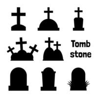Tombstone silhouette collection for Halloween vector