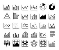 Modern graph and chart line icon set with arrows up vector
