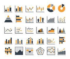 gráfico moderno y gráfico plano conjunto de iconos con flechas hacia arriba