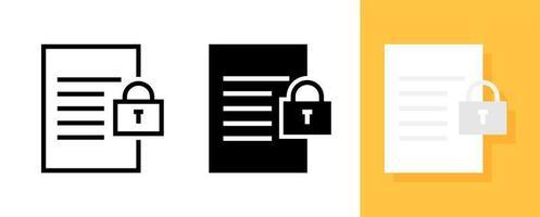 Paper with lock symbol icon set vector