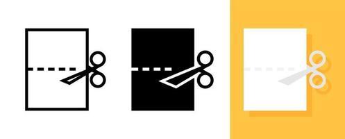 Paper and scissors icon set