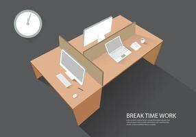 Workplace computer table perspective view modern vector illustration