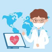 health online, doctor with mask and laptop medical help covid 19 coronavirus vector