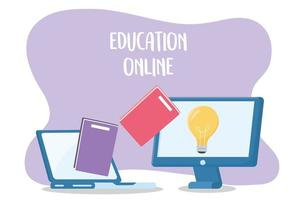 online education, laptop and computer trasnfer books creativity vector