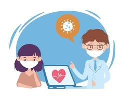 health online, doctor with mask and laptop patient vector