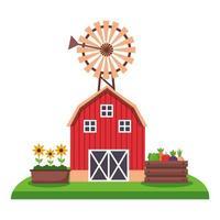 edificio de la granja con diseño vectorial de molino de viento