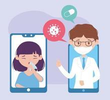 online health, smartphones doctor and girl patient application vector