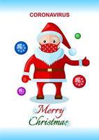 tarjeta de navidad con santa claus con mascarilla durante la pandemia de coronavirus