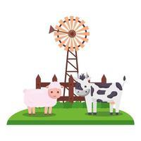 Granja linda vaca y oveja con diseño de vector de molino de viento