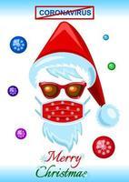 tarjeta de navidad con mascarilla durante la pandemia de coronavirus