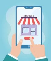 salud en línea, manos con mercado de teléfonos inteligentes comprando covid 19 coronavirus vector