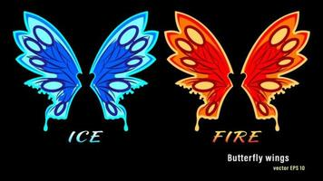 Butterfly wings icon set