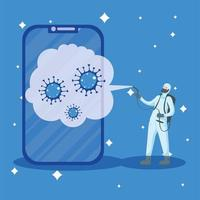 Man with protective suit spraying smartphone with covid 19 vector design