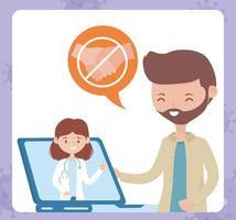 salud en línea, doctor en computadora portátil consultar hombre evitar contacto covid 19 coronavirus