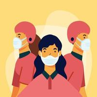 delivery woman and men with masks and helmets vector design