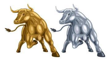 conjunto de toro de metal de dibujos animados vector