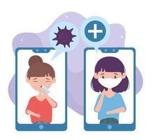 online health, smartphone coughing sick women mask covid 19 coronavirus vector