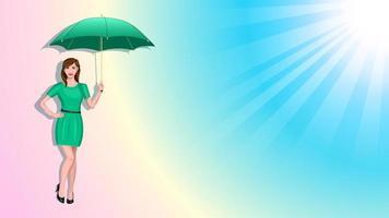 Woman Holding Umbrella Gradient Background