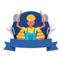 construction man worker with ribbon vector design