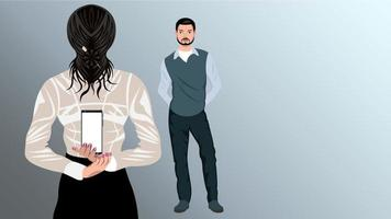 Woman Holding a Phone Behind Her Back for a Man vector