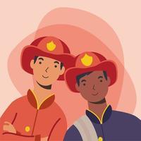 bomberos hombres trabajadores diseño vectorial