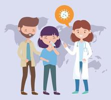 health online, sick people and female doctor vector