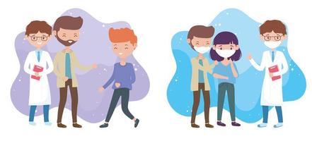health online, doctor and sick people healthy people covid 19 coronavirus