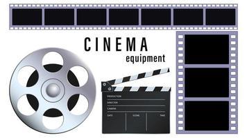 Equipo de cine realista aislado sobre un fondo blanco.
