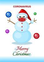 tarjeta de navidad con muñeco de nieve con mascarilla durante la pandemia de coronavirus