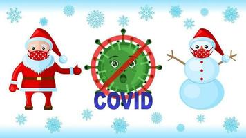 Snowman and Santa Klaus with face masks for coronavirus outbreak vector