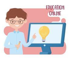 educación en línea, profesor enseñando lecciones con la computadora vector