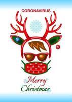 tarjeta de navidad con cuernos de reno con mascarilla durante la pandemia de coronavirus