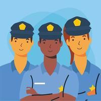 policía, hombres y mujeres, trabajador, vector, diseño
