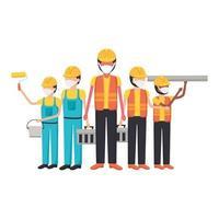 Hombres de la construcción con diseño vectorial de máscaras