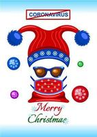 Christmas card with face mask during the coronavirus pandemic
