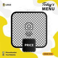 menú de comida banner diseño de publicación de redes sociales