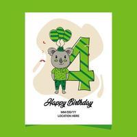 Tarjeta de invitación a la fiesta de cumpleaños número 4 con diseño de personaje de koala animal bebé de dibujos animados