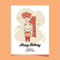 1st birthday party invitation card with cartoon baby animal cat character design vector
