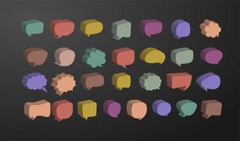 Conjunto de vectores de burbujas de discurso 3d